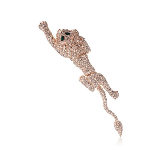 Brooch Ornament Women's Korean-Style Atmosphere Cool Imitation Crystal Cheetah Brooch Coat Pin 850037