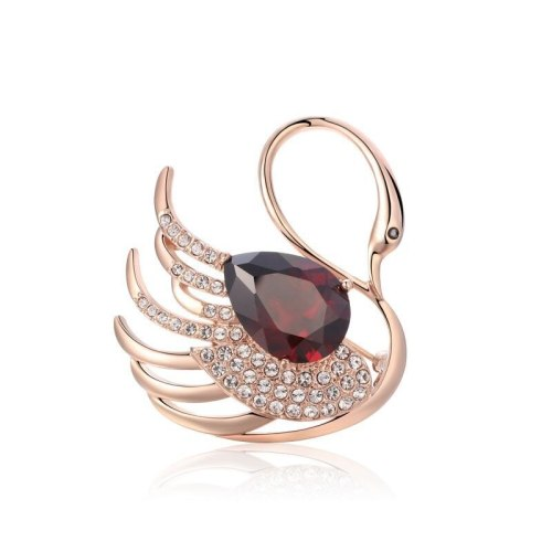Ornament Women's Japanese Korean Series Alloy AAA Red Zircon Swan Brooch Warm Heart Gift 553468