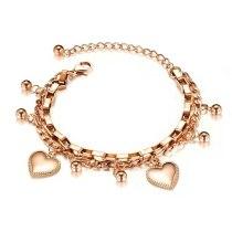 Ornament Fashion Multi-Layer Stainless Steel Bracelet Women round Beads Heart Titanium Steel Women's Bracelet Jewelry Gb1038