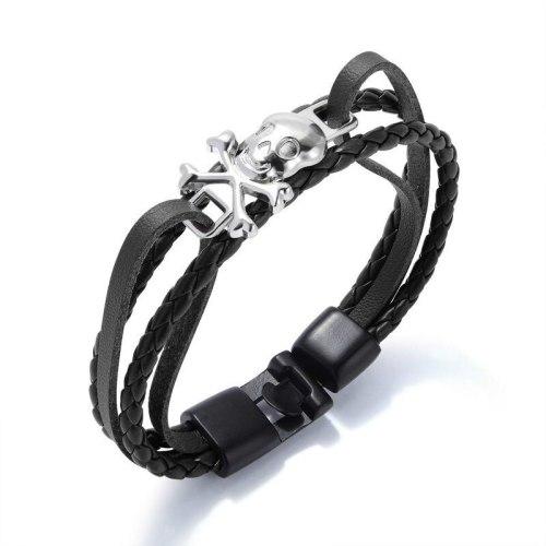 Rock Punk Style Men Multi-Layer Woven Leather Bracelet Skull Male Bracelet Pirate Logo Bracelet Bangle Men Gift Gb1304