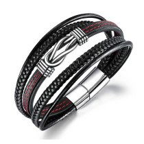 Stainless Steel Bracelet Cool Magnetic Sucker Release Buckle Stylish Guy's Titanium Steel Bracelet Men's Leather Bracelet Gb1370