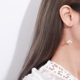 S925 Sterling Silver Female Korean-Style All-match Asymmetric Mermaid Stud Earring Zircon Micro Pave Fishtail Ear Stud Mle1852