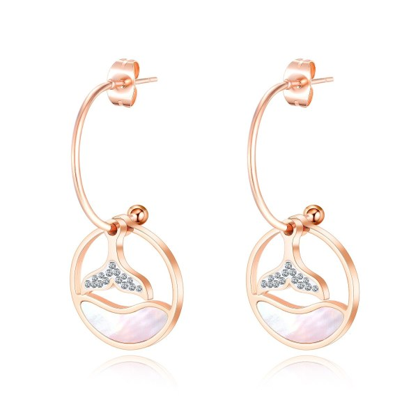 Japanese and South Korean Style Rose Gold White Shell Fish Tail round Earrings New Style Elegant Cool Women Ear Stud Gb576