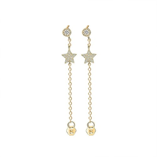 S925 Sterling Silver Ornament Female Korean-Style All-match Five-Pointed Star Short Ear Pendant Cool Can Wear Ear Stud Mle399