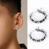 Hot Selling Ornament Earrings Europe Exaggerated Vintage Men's Stainless Steel Skull Geometric Ear Stud Earring Ornament Gb588