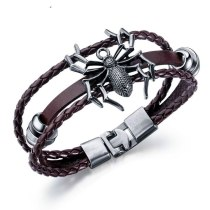 European and American Hand-Woven Multi-Layer Cowhide Spider Bracelet Vintage Cool Men's Stainless Steel Bracelet Gb1362