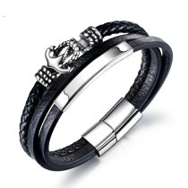 Korean Fashion Stainless Steel Anchor Hand Jewelry Men's Black Leather Bracelet Multi-Layer Woven Vintage Bracelet Gb1373
