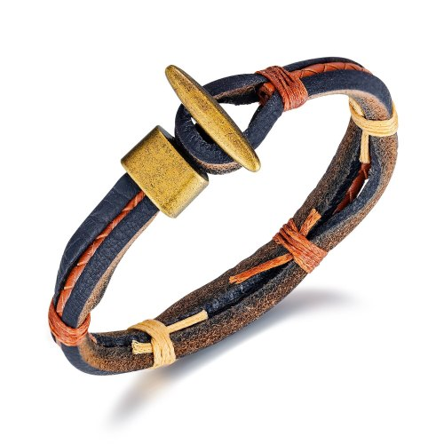 Retro Simple Ornament Wholesale Men's Multi-Layer Woven Leather Hand Jewelry Stylish Guy's Retro Alloy Leather Bracelet Gb1396