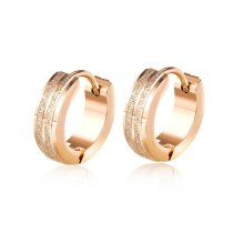 New Ear Stud Cool Fashion Stainless Steel Rose Gold Groove Frosted Women Ear Stud Earrings Gifts Gb586