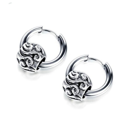 New Street Hip Hop Titanium Steel Earrings Simple Circle Geometric Retro Diverse Stud Earring Male Jewelry Gb601