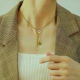 Exquisite Necklace Female Wholesale Classic Temperament Smiley Face Star Square Titanium Steel Clavicle Chain Necklace Gb1695