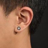 Stainless Steel Earrings Wholesale Street Retro Men's Roman Digital Round Diamond Set Titanium Steel Stud Earring Gb600