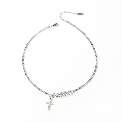 Korean-Style Stainless Steel Necklace Fashion Retro Cross Necklace Female Titanium Steel Simple Clavicle Chain Wholesale Gb1694