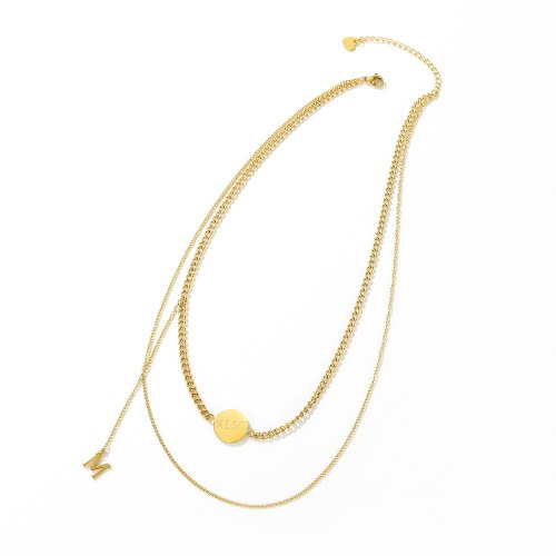 Korean-Style Simple Double-Layer Titanium Steel Necklace Cool Letter M Female Fashion Multi-Layer Clavicle Chain Gb1696
