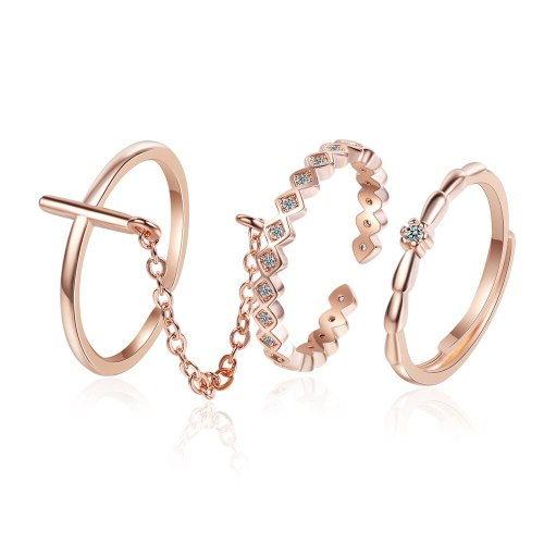 Korean-Style Cross Little Finger Ring Rose Gold Plated Joint Three-Piece Chain Ring Simple Fine Diamond Set Ring Female Xzjz330