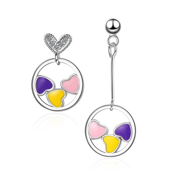 Love Earrings Korean Temperament Net Red Romantic Elegant Heart-to-Heart Asymmetric Earrings Xzed888