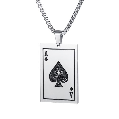 New Wholesale Fashion All-match Titanium Steel Black Peach a Poker Pendant Cool Fashion Men's Necklace Gb1670