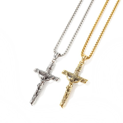 Stainless Steel Fashion Cross Necklace Religious Belief Classic Men's Titanium Steel Necklace Gb1668