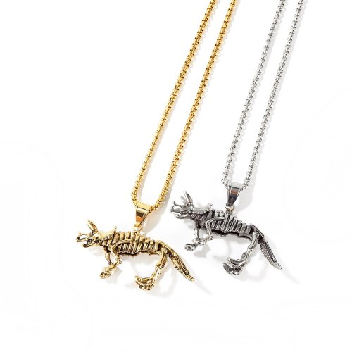 Stainless Steel Vintage Dinosaur Skeleton Necklace Pendant Cool Assertive Men's Titanium Steel Unicorn Necklace Wholesale Gb1669