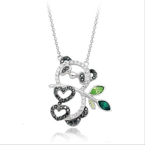 Cute Girl Ornament Diamond Set Panda Pendant Necklace Exquisite Necklace Wholesale 61522