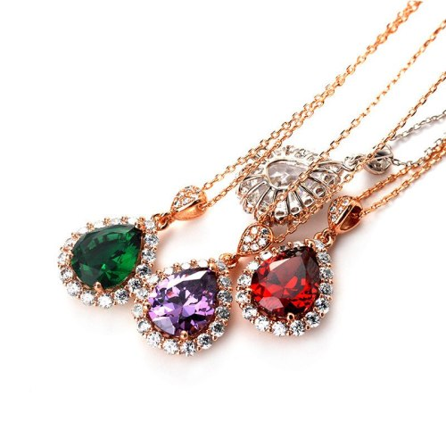 New Fashion Retro Necklace Creative High-End Drop Pendant Zircon Necklace Jewelry Wholesale 77558