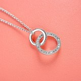 Fashion Simple Micro Pave AAA Zircon Double Coils Necklace Gold Plated New Style Necklace 77070