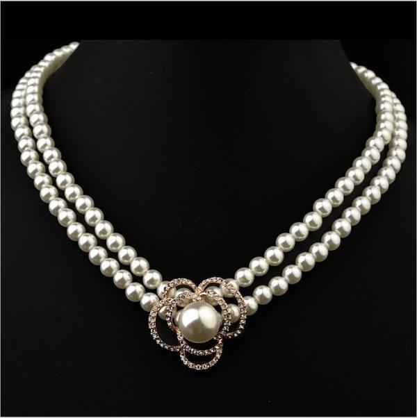 New Cute Diamond Flower Pearl Necklace Elegant Bridal Jewelry Wholesale 61847