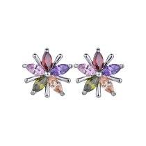 Flower  Stud Earring Multi-Color AAA Crystal Zircon Copper Inlaid  Stud Earring Fashion Simple Ear Stuornament Qxwe238
