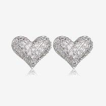 Heart-Shaped  Stud Earring S925 Sterling Silver Ear Pin  Zircon Micro Pave Female Earring Korean Fashion Accessories Qxwe928
