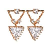 AAA Zircon Copper Inlaid  Stud Earrings Korean-Style Creative Geometric Triangle Earring Gold Plated Qxwe1198