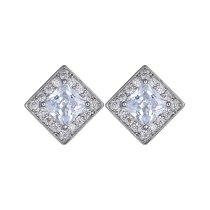 AAA Zircon Inlaid  Stud Earring European and American Quality Platinum Plated Earrings Jewelry Qxwe643