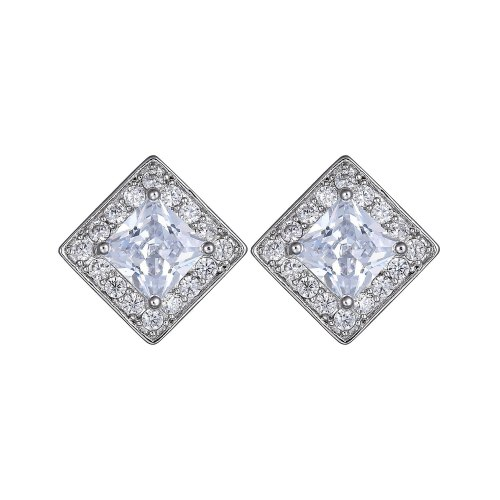 AAA Zircon Inlaid  Stud Earring European and American Quality Platinum Plated Earrings Jewelry Qxwe643