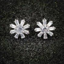 Zircon Stud Earrings Inlaid 18K Rose Gold Plated Korean-Style Simple Taiyanghua Stud Earrings Qxwe568