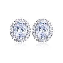 Oval Earring AAA Zircon Inlaid High-End Stud Earring Korean-Style Ear Stud Atmospheric All-match Jewelry Qxwe1124