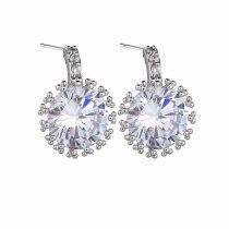 Korean-Style Fashion  Stud Earring Exquisite Super Shiny Zircon Inlaid Taiyanghua-Shaped Platinum Plated Earring Qxwe576
