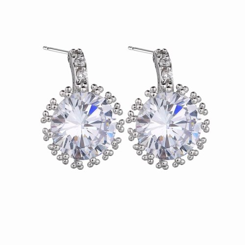 Korean-Style Fashion  Stud Earring Exquisite Super Shiny Zircon Inlaid Taiyanghua-Shaped Platinum Plated Earring Qxwe576