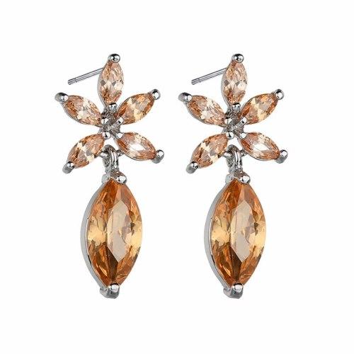 Fashion Inlaid AAA Zircon Earring Pendant  Stud Earring Leaf Pendant Earrings Female Jewelry Qxwe461