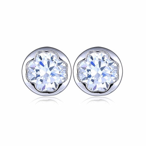 Lucky Flower  Stud Earring Inlaid Pomegranate Zircon Plated Platinum  Stud Earring Jewelry Simple and Versatile Earring Qxwe056