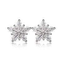 Snowflake Stud Earring AAA Zircon Inlaid Elegant Korean-Style Women's Platinum-Plated Earring Qxwe1032