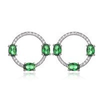 Korean Fashion Cool Stud Earring S925 Sterling Silver Pin Zircon Diamond Set Stud Earrings Emerald Earrings Qxwe878