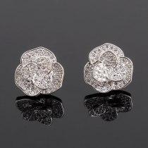 925 Silver Stud Earring AAA Zircon Micro Pave Rose Stud Earring Fashion Jewelry Earring Female Qxwe666