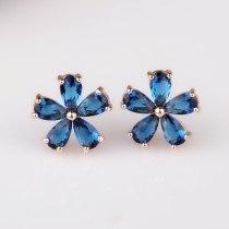 Rose Gold Flower  Stud Earring Korean Style Simple Stud Earring AAA Crystal Zircon Inlaid All-match Earring Qxwe752