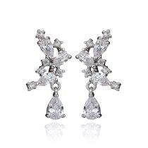 Korean-Style  Stud Earrings Symmetrical Copper Inlaid AAA Zircon Drop Earrings Pendant Girl's Earring Jewelry Qxwe890