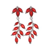 Leaves Red Green Stud Earrings Crystal Zircon Copper Inlaid Earring 925 Sterling Silver Ear Pin Fashion Accessories Qxwe883