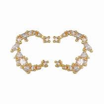 Sterling Silver Ear Pin Female Temperament Korean-Style Simple and Versatile Moon Curved Geometric Zircon Earrings Qxwe0585