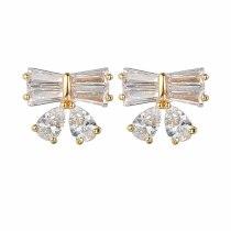 Korean-Style Stud Earring Bow Earring Copper Inlaid AAA Zircon Earring Jewelry Qxwe841