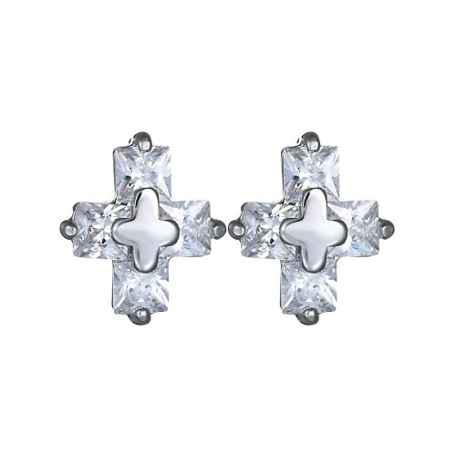 Cross Stud Earring  AAA Square Small Zircon Ear Stud Men and Women Universal All-match Classic Earring Qxwe540