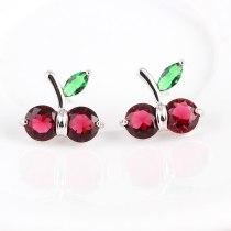 South Korea Sweet Cute New Red Cherry Fashion Jewelry All-match Diamond Set Simple Temperament Stud earring Jewelry Qxwe490
