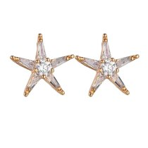 Copper Alloy Inlaid Zircon Five-Star Women's Earrings Plated Platinum Stud Earrings Champagne Gold Jewelry Qxwe1168