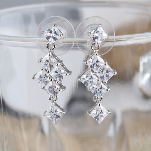 Drop Earrings AAA Zircon Inlaid Geometric Earrings S925 Silver Pin Earrings Korean-Style Stud Earring Women's Jewelry Qxwe719